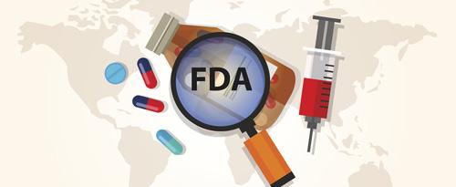 FDA logo superimposed over medical icons and globe